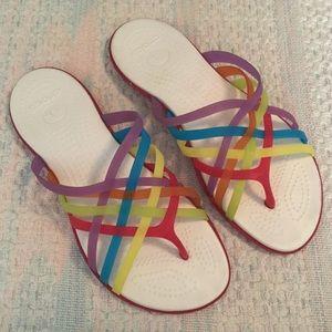 d40897a88cd9 CROCS Huarache rainbow strappy sandals flip flops